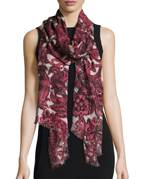 Floral Beasts Giant Check Scarf, Pink