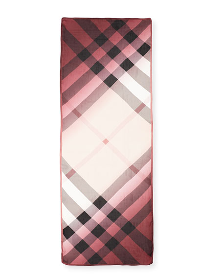 Ombre Washed Check Silk Scarf, Rose
