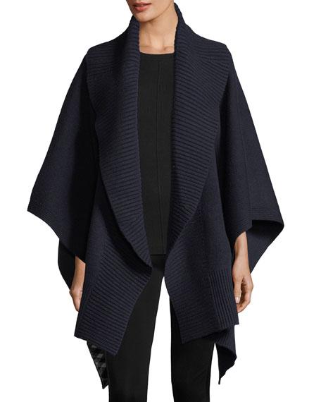 Cashmere-Wool Ribbed Poncho, Indigo