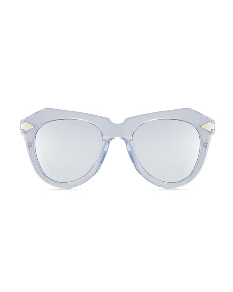 One Star Faceted Cat-Eye Sunglasses, White