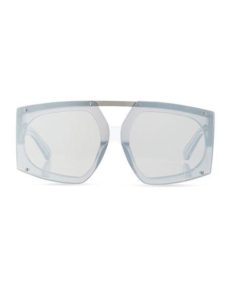 Salvador Oversized Mirrored Wrap Sunglasses, White