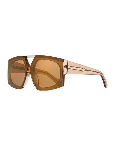 Karen Walker Salvador Oversized Mirrored Wrap Sunglasses, Brown