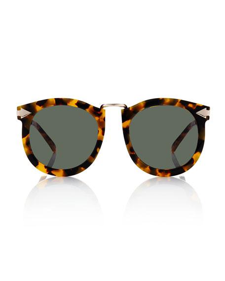 Super Lunar Round Monochromatic Sunglasses, Crazy Tortoise