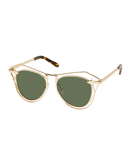 Marguerite Square Monochromatic Sunglasses, Yellow Gold/Crazy Tortoise