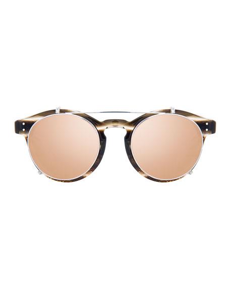 Round Acetate Sunglasses w/ Clip-On Lenses, White Gold/Horn