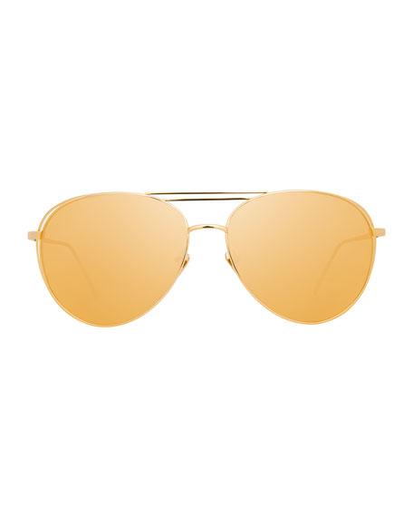 Open-Inset Aviator Sunglasses, Gold