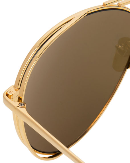 Open-Inset Aviator Sunglasses, Gold