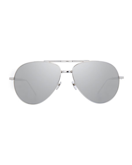 Linda Farrow Semi-Rimless Aviator Sunglasses, White Gold, Gray