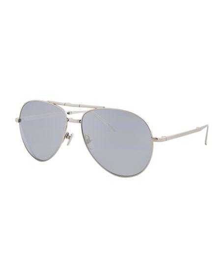 Linda Farrow Foldable Aviator Sunglasses, White Gold
