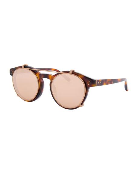 Linda Farrow Round Acetate Sunglasses w/ Clip-On Lenses,