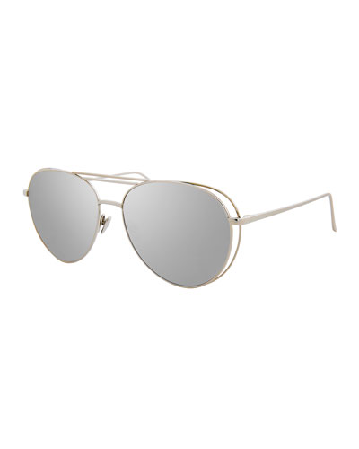 Open-Inset Aviator Sunglasses, White Gold