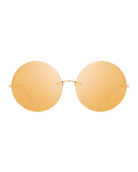 Rimless Round Mirrored Sunglasses, Gold