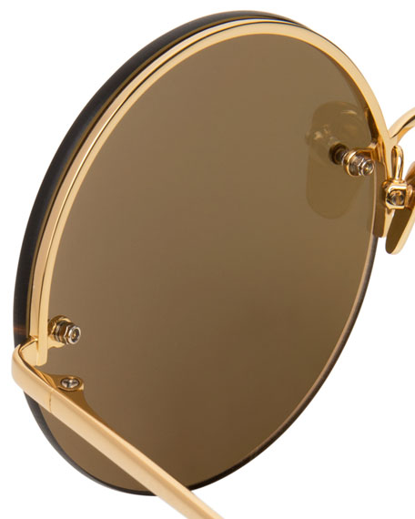 Rimless Round Mirrored Sunglasses, Gold