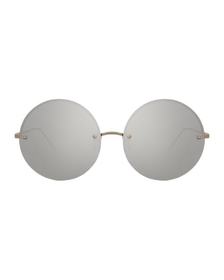 Rimless Round Mirrored Sunglasses, White Gold