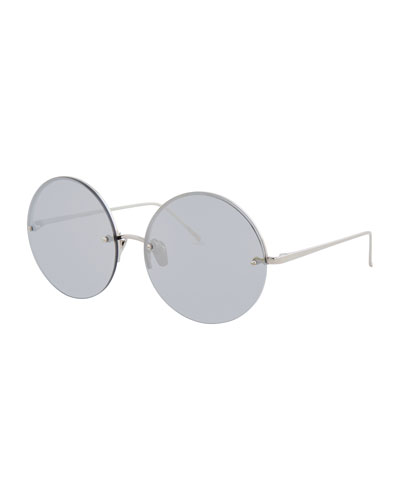 Rimless Round Mirrored Sunglasses, White Gold