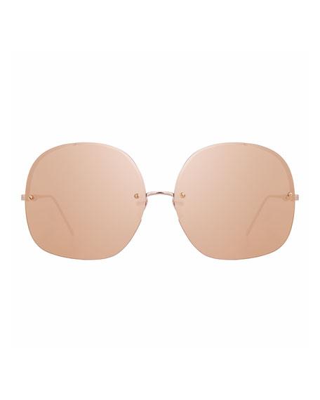Rimless Oversized Square Sunglasses, Rose Gold