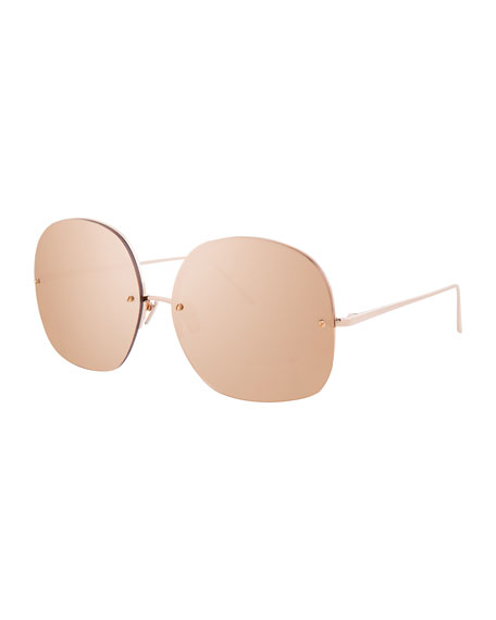 Linda Farrow Rimless Oversized Square Sunglasses, Rose Gold