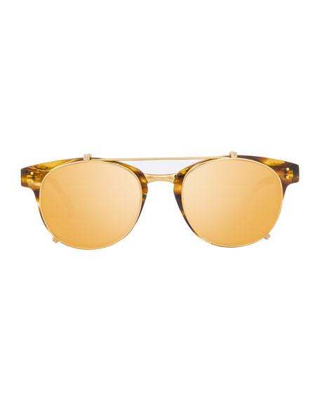 Square Acetate Sunglasses w/ Clip-On Lenses, Gold/Tortoise
