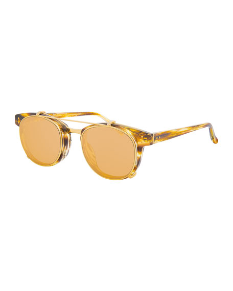 Linda Farrow Square Acetate Sunglasses w/ Clip-On Lenses,