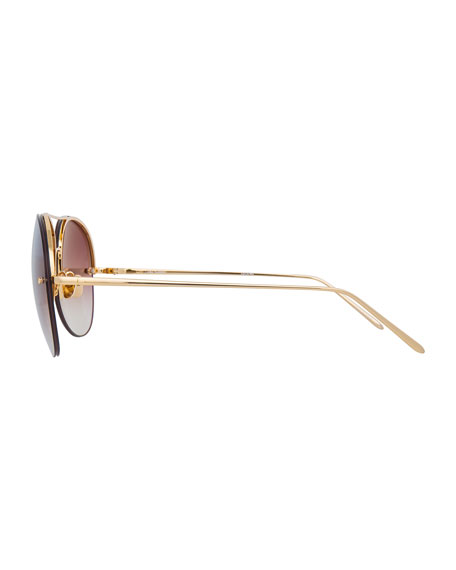 Rimless Gradient Aviator Sunglasses, Brown