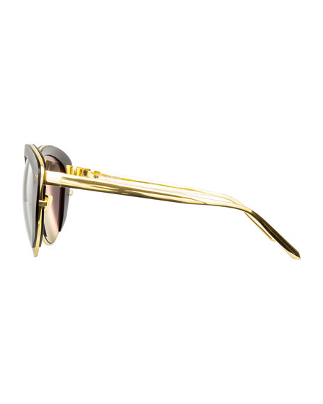 Capped Cat-Eye Sunglasses, Gold/Black