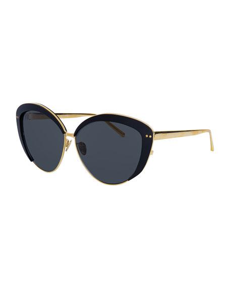 Linda Farrow Capped Cat-Eye Sunglasses, Gold/Black