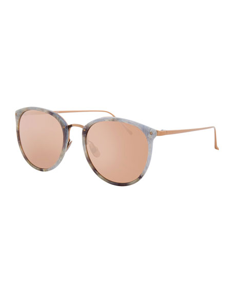 Linda Farrow Oversized Mirrored Sunglasses, Rose Gold/White