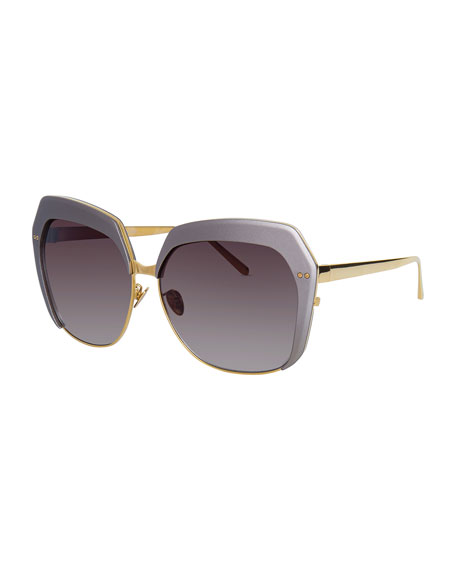 Linda Farrow Capped Oversized Butterfly Sunglasses, Gold/Taupe