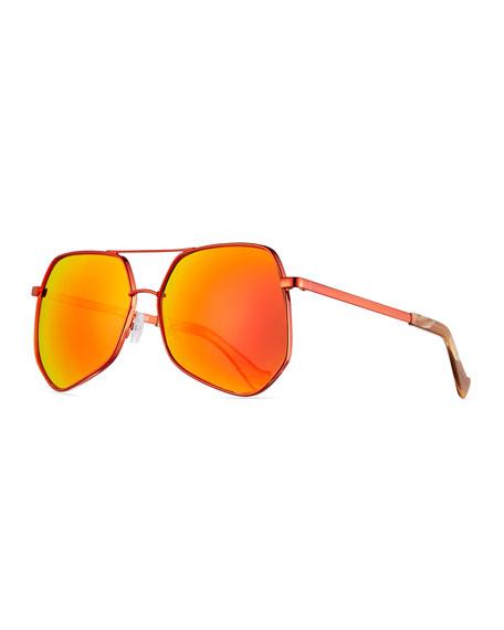Grey Ant Megalast Geometric Aviator Sunglasses, Brown/Orange