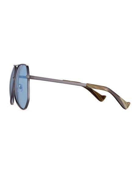 Megalast Geometric Aviator Sunglasses, Silver