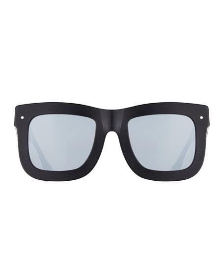 Status Square Mirrored Sunglasses, Brushed Black/White