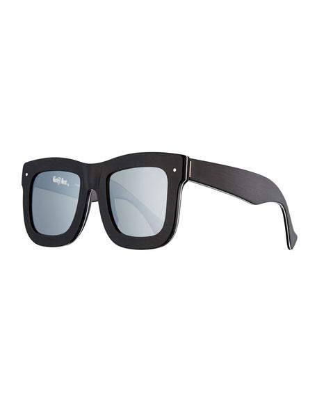 Grey Ant Status Square Mirrored Sunglasses, Brushed Black/White