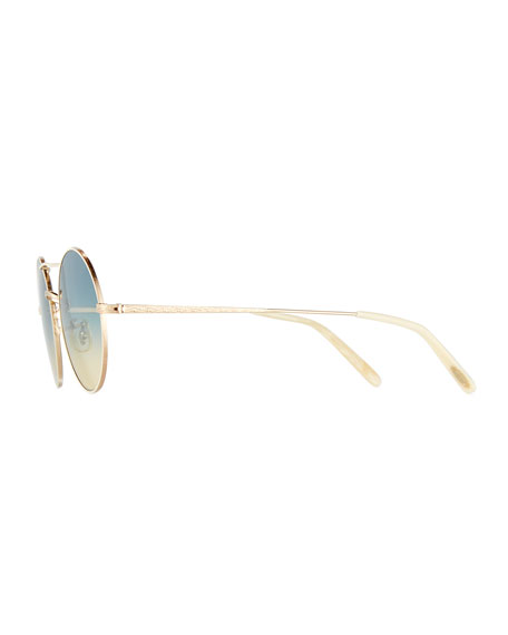 Nickol Round Gradient Sunglasses, Beige