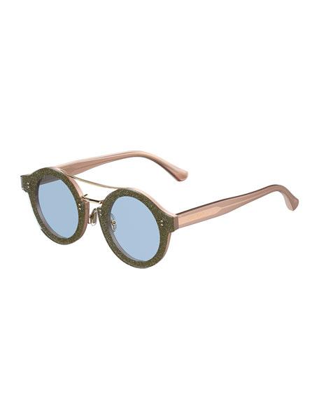 Montie Round Glittered Brow-Bar Sunglasses