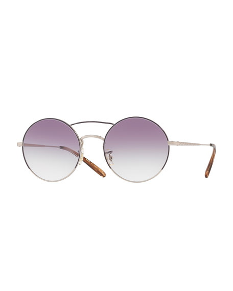 Nickol Round Mirrored Sunglasses, Purple