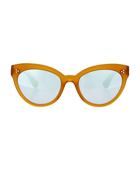 Roella Mirrored Cat-Eye Sunglasses, Yellow