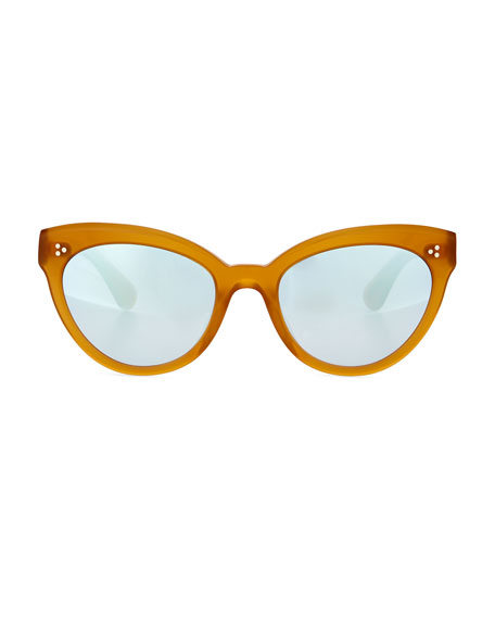 Roella Mirrored Cat-Eye Sunglasses, Yellow