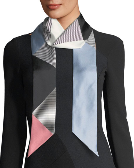 Double Mega-Check Skinny Silk Scarf
