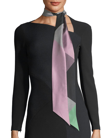 Double Mega-Check Skinny Silk Scarf, Lilac
