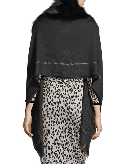 Woven Jacquard Shawl w/ Fur Trim