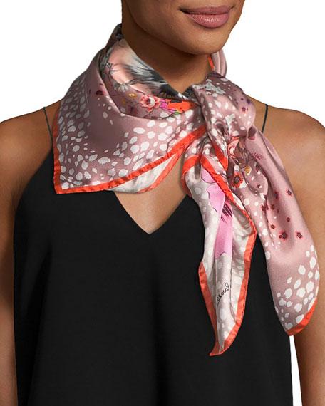 Foulard Silk Twill Scarf, Bright Pink