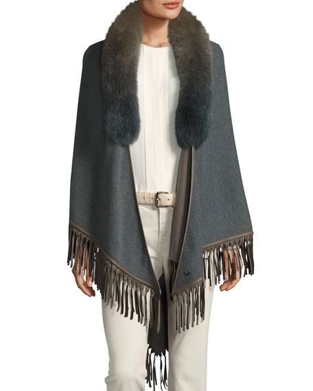 Flamenco Fur-Collar Cape