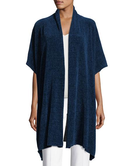 Short-Sleeve Chenille Shawl-Collar Cardigan