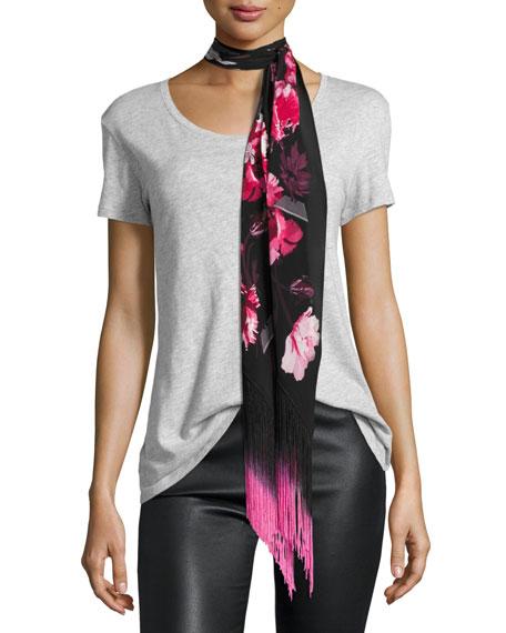 Rockins Flora Classic Skinny Silk Fringe Scarf, Pink/Black