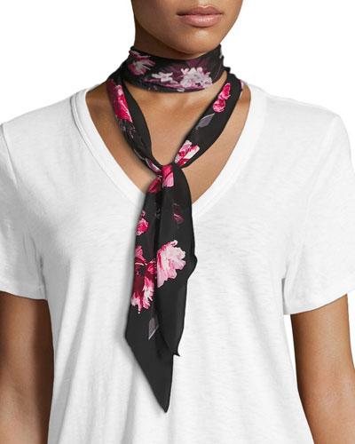 Flora Super Skinny Silk Scarf, Pink/Black