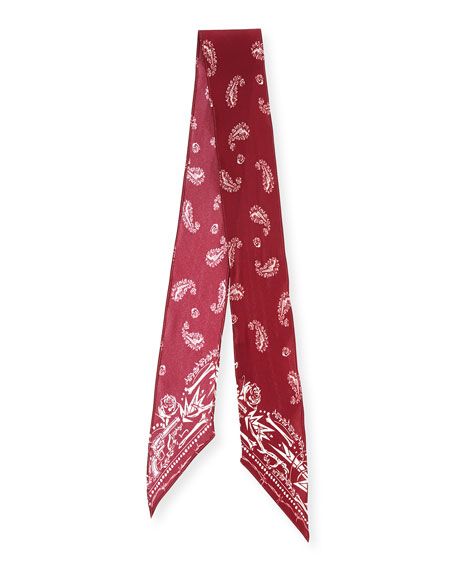 Paisley Super Skinny Silk Scarf, Red