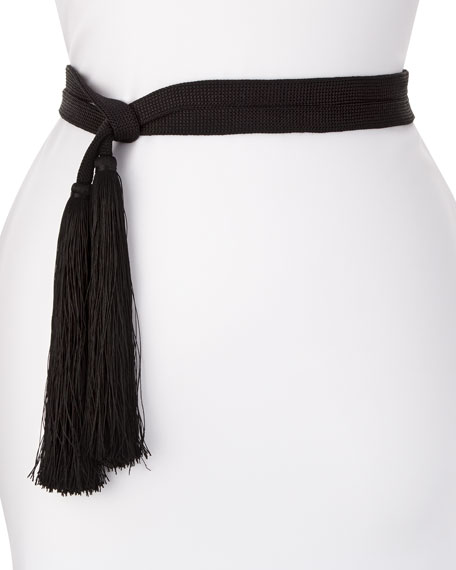 Trina Tassel Wrap Belt, Black