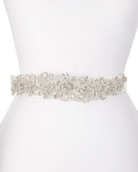 Deborah Drattell Valentine Long-Jewel Belt, White