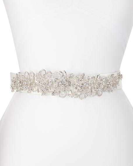 Deborah Drattell Valentine Long-Jewel Belt, White