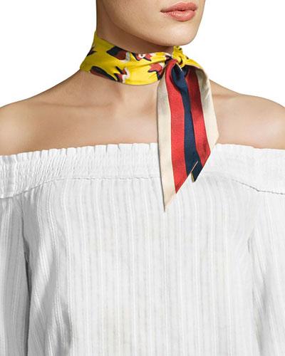 Bow & Web Skinny Silk Scarf